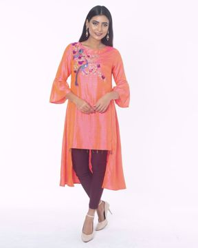 Picture of Fusion Kurti in Peacock & Floral Embroidery