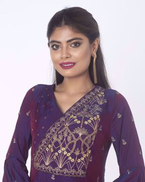 Picture of Ethnic Silk Kurti in Up & Down Round pattern