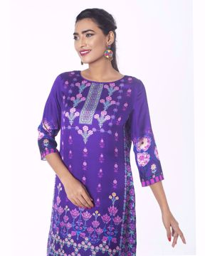 Picture of Floral Shamu Silk Ethnic Kurti