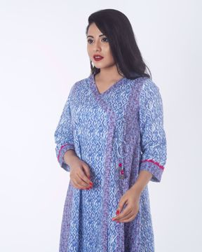 Picture of Angrakha Neck Cotton Ethnic Kurti