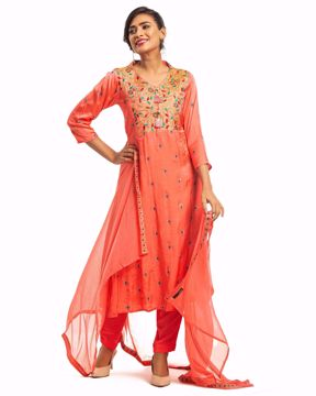 Picture of Empire Waist Pattern Silk Ethnic Suit