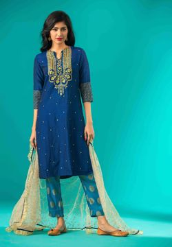 Picture of Silk A-line Ethnic Kurti Suit