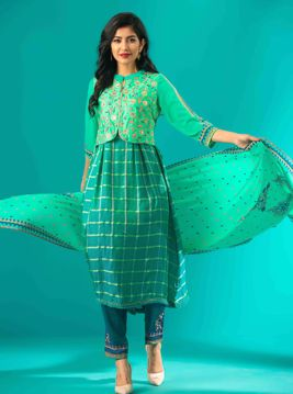 Picture of Ethnic A-line Silk Kurti Suit