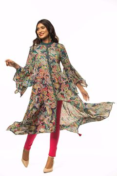 Picture of Boho Style Asymmetric Hem Pattern Kurti