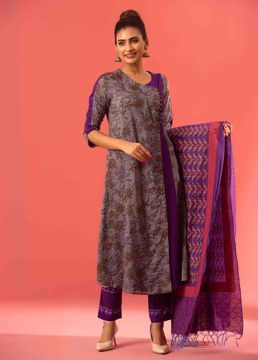 Picture of Angrakha Style Silk Kurti Suit