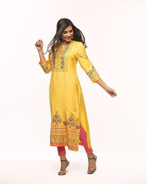 Picture of Ethnic A-Line  Silk Kurti