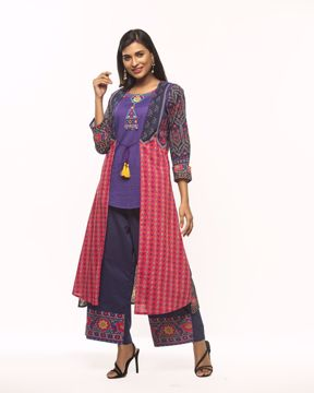 Picture of Double Layered Long Kurti with Pant (2pcs)