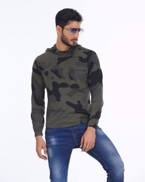 Picture of Mens Military Long Sleeve Hoodie T-Shirt