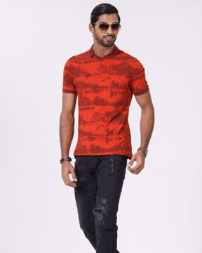 Picture of Mens V Neck All Over Printed Polo
