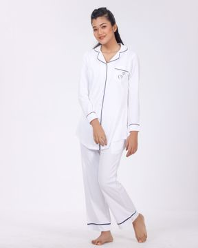 Picture of Contrast Piping Lounge Long Shirt