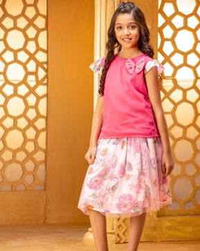 Picture of Girls Woven Top With Skirt  (7-10 Years)