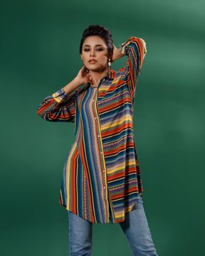 Picture of Womens Double Collar Top With Long Sleeve