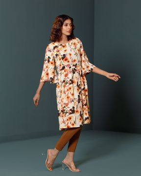 Picture of Womens Floral printed long top with flared sleeve