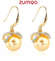 Dove Design Studded Pearl Earrings by ZUMQA (YELLOW)