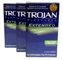 Trojan Extended Pleasure Climax Control Lubricant Premium Latex Condoms 12 ct (Quantity of 3)