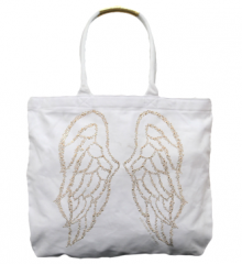B. New Victoria's Secret White Bling Angel Wings studded Beach Tote Bag