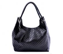 Charming Black Leather Handbag - Black