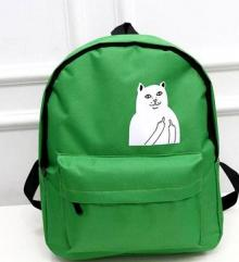 Cat Lord Nerman Print Backpack (Green)