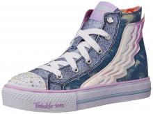 Skechers Kids Shuffles Light Up Sneaker (Toddler/Little Kid),Denim Wings,5 M US Toddler