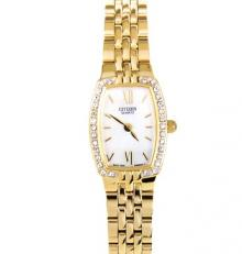 Citizen Analog Gold Bracelet Womens Dress Watch EK1102-65D