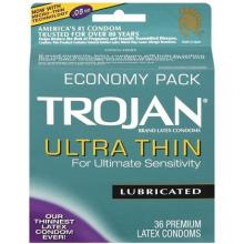Trojan Ultra Thin Lubricated Premium Latex Condoms 36 ct
