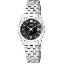 Citizen Women's EU2610-58E Silver Stainless-Steel Quartz Watch with Black Dial