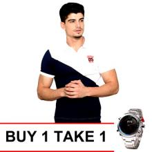Cut & Sew Embro Men's Polo Shirt - White/Navy Blue with Newyork Army NYA8933 Men's Stainless Steel Watch - Red