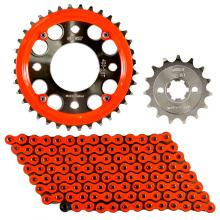 Osaki Raider 150 15-42x428-132 Chain Set with Chain Guide (Orange Neon)