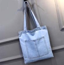 Casual Canvas Denim Jean Ladies Shopper Bag - Light Blue-3