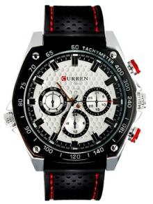 CURREN 8146 Men's Fashionable White Dial Rubber Strap Watch