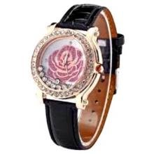 DALAS Fashion Rose Flower Bling Crystal Lady Women Black Leather Quartz Wrist Watch WAA329