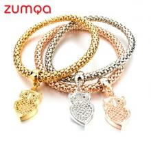 Ethnic Owl Pendant Friendship Charm Bracelet by ZUMQA