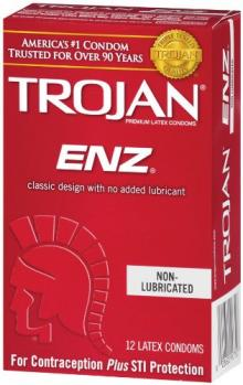 Trojan ENZ Non-Lubricated Condoms, 12 Count