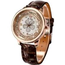 DALAS Rose Gold Bling Crystal Girl Lady Women Brown Leather Quartz Wrist Watch WAA622