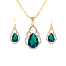 Green Crystal Wedding Gold Plated Chain Jewelry Sets by Zumqa