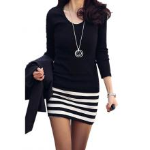 Striped Slim Mini Dress (Black/White)