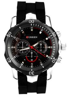 Curren Men's Silver Case with Black Rubber Strap Watch 8163