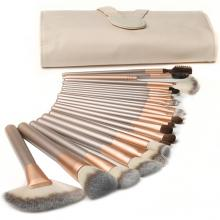 24 Pcs Champagne Color Wood Handle Nylon Face Makeup Cosmetic Brush Set with Pouch