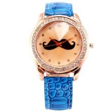 DALAS Rose Gold Case Crystal Bezel Mustache Blue Leather Girl Quartz Fantastic Watch Gift WAA517