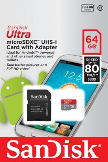SanDisk Ultra 64GB microSDXC UHS-I Card with Adapter, Grey/Red, Standard Packaging (SDSQUNC-064G-GN6MA)