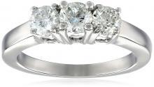 14k White Gold Round 3-Stone Diamond Ring (1 cttw, I-J Color, I1-I2 Clarity), Size 6