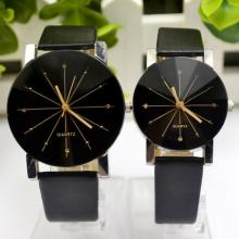 YBC 1 Pair of Couple Wrist Watch Casual PU Leather Round Dial Watchband (Black)