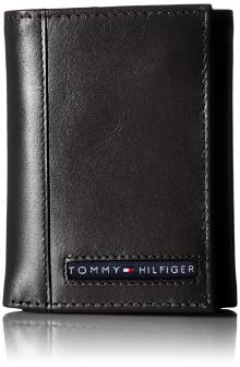 Tommy Hilfiger Men's Leather Cambridge Trifold Wallet, Black, One Size