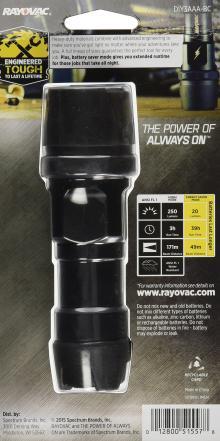 Rayovac Virtually Indestructible 250 Lumen 3AAA LED Flashlight with Batteries (DIY3AAA-B)