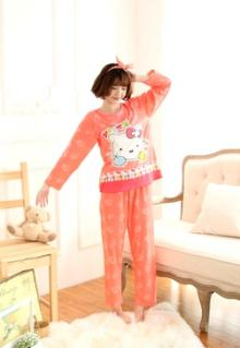 Cute Cartoon Kitty Complete Sleepwear Pajamas