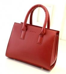 European Fashion Design PU Leather Handbag - RED