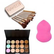 Naked 12pcs Brush with Blender Sponge and 15 Concealer Palette