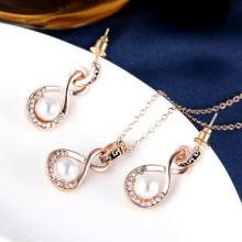 Crystal Studded Pearl Pendant Necklace & Earrings Set by Zumqa, Rose Gold, ZP1009