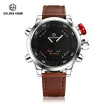Golden Hour Casual LED Dual Time with Sport Alarm Diver Men's Watch - SILVER RED