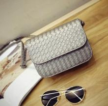 Fashion Ladies Weave Small Messenger Flap Bag - SILVER
